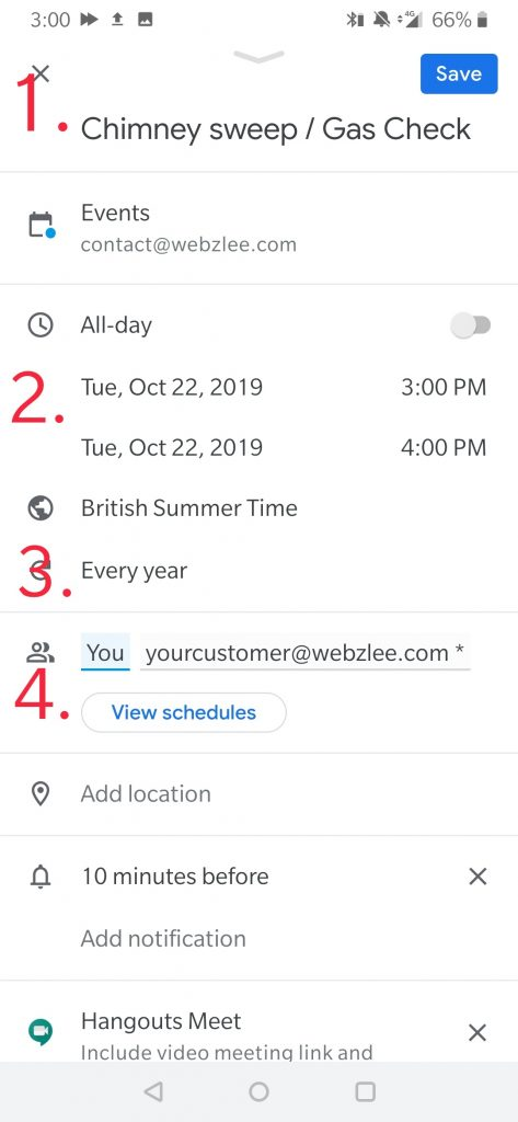 steps to create an annual appointment in Google Calendars
