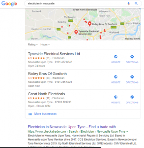 Google search for electrician in Newcastle